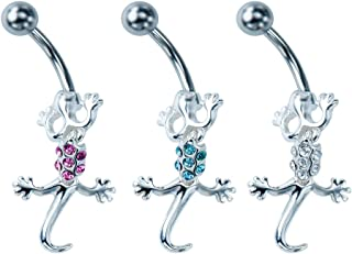 Piercing Value Pack 3PC 14g Stainless Steel Jeweled Salamander Belly Button Ring Navel Banana