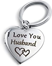 PHOCKSIN I Love You Husband Keychain Locket Necklace That Holds Pictures Key Chain Gifts for Men