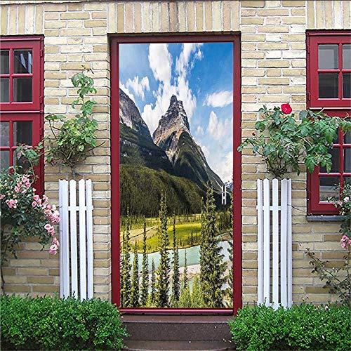3D deurstickerdeursticker, 3D-diyrenovatiebehang, vintagehalf, overkapping, houten deurgebergte, cultuurbinnendeurfotoafneembaar 77 x 200 cm
