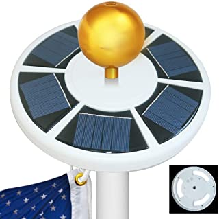 Best Sunshine Solar Flag Pole light 42 LED, IP65 Weatherproof Flagpole Downlight for 15 to 25 Ft Top {Upgraded Version}, Auto On/Off Night Lighting