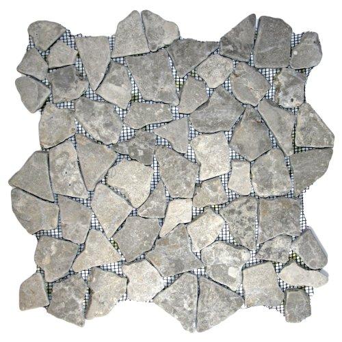 Stone Grey Mosaic Tile 1 sq.ft. (Mesh Mounted)