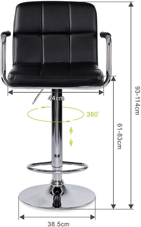 dibea Barhocker 2er-Set Kunstleder Barstuhl 360/° drehbar h/öhenverstellbar Schwarz Modell 3