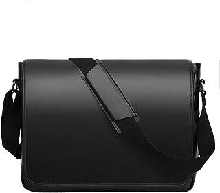 Leathario Herren Messenger Bag Leder Aktentsche Laptoptasche für Laptop 15.6 Zoll Ledertasche Männer Schultertasche für Arbeit Uni Freizeit Schwarz