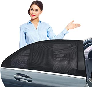 ZOTO Car Rear Window Sun Shade, Breathable Mesh Sun Shield Protect Baby Pet from Sun's Glare & Harmful UV Rays, Universal Car Curtains Fit for Cars and SUVs (Pack of 2,Large Size)
