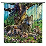 BCNEW Wolves Shower Curtain Sets Fantasy Forest Flowers Butterfly Elk Tropical Jungle Animals Plant Polyester Fabric Bathroom Decor 70×78 Inch with Hook Hole