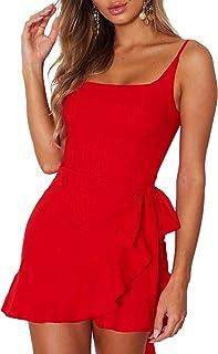 Women's Dress Spaghetti Strap Waist Tie Knot Wrap Front...