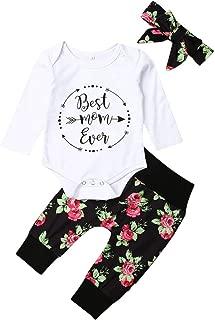 MA&BABY Newborn Baby Girl Clothes Set Rainbow Print Long Sleeve Romper Pants Hats Headband 4Pcs Set