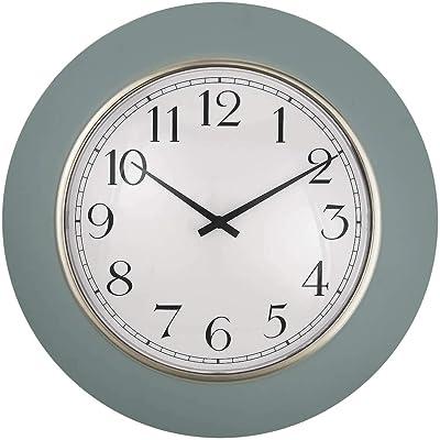 "PresenTime & Co 12"" Modern Farmhouse Kitchen Wall Clock, Vintage Design, Domed Lens, Morning Gold Ring, Stonewash Blue/Teal Color"