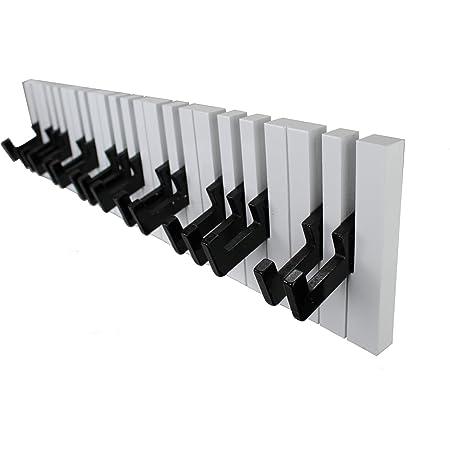 GMMH DuNord Porte-Manteaux 16 patères Motif Piano Noir/Blanc