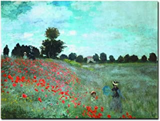 Wieco Art The Poppy Field Near Argenteuil Giclee Canvas Prints Wall Art of Claude Monet Famous Floral Oil Paintings Reproduction Classic Flowers Landscape Pictures Artwork for Bedroom Home Decorations