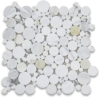 Calacatta Gold Italian Calcutta Marble Bubble Round Mosaic Tile Polished