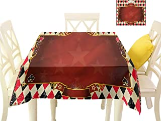 WilliamsDecor Outdoor Picnics Poker Tournament,Stars with Swirls Kitchen Table Cover W 70