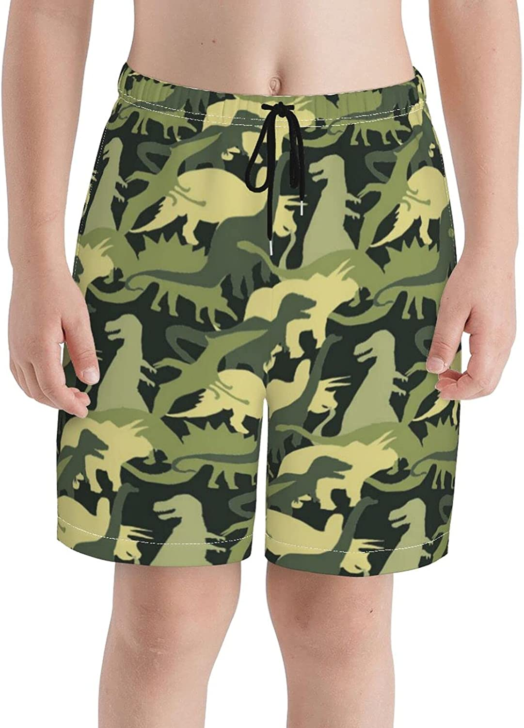 Camouflage Silhouette Boys Quick Dry Swim Trunks Youth Print Beach Surfing Board Shorts 7-20 Years