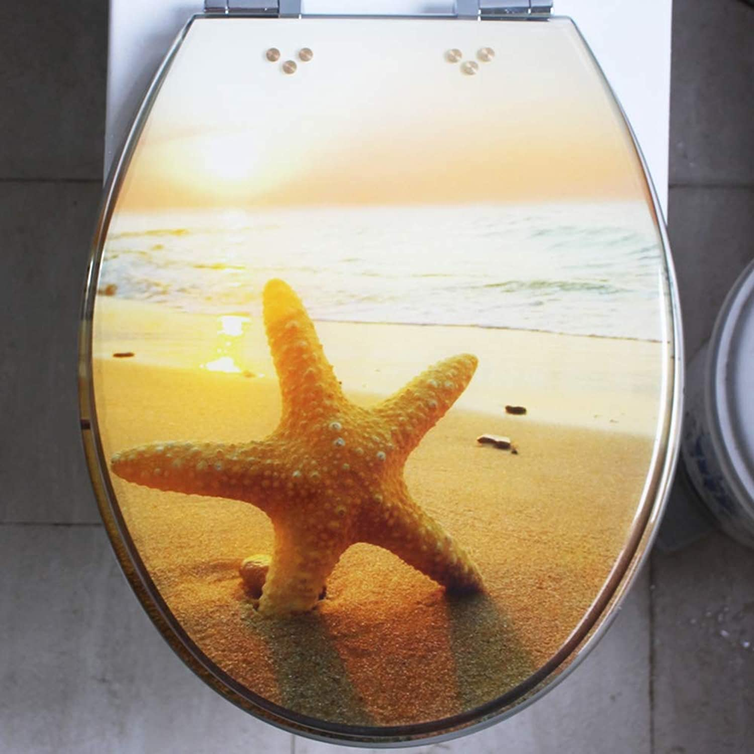 WC Sitz Toilet seat, resin toilet seat, toilet cover, universal UVO thickening, descending stainless steel hinge, morning sun beach