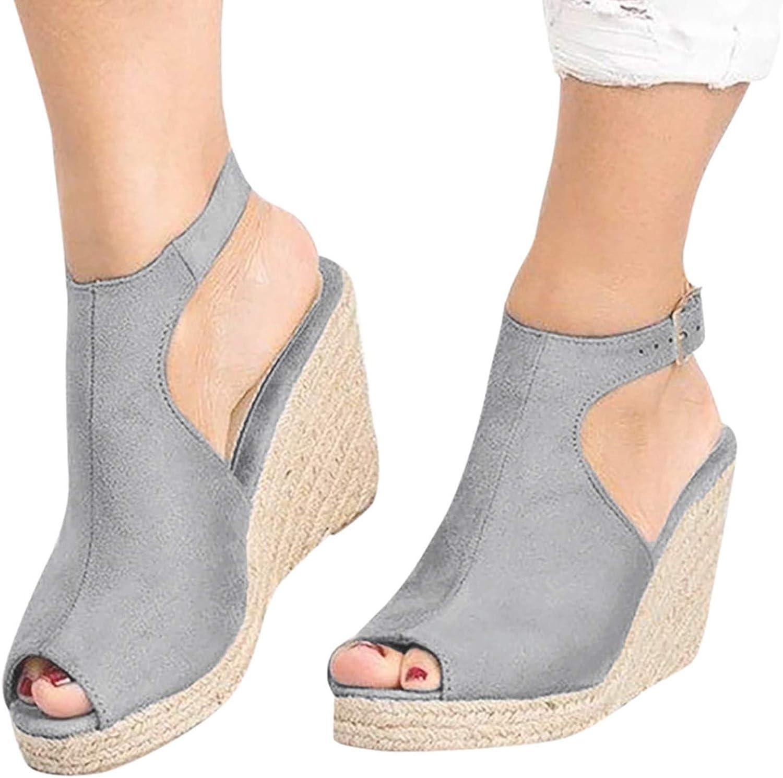 Niceast Women's Sandals Buckle Open Toe Solid Color Comfortable Cute Straw Platform Wedge Sandals Casual Summer Beach Sandals for Women