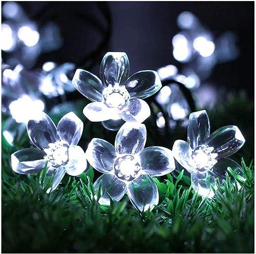 SEMILITS Garden Decor Fairy Lights Outdoor Waterproof 23ft 50 LED Hanging Flower Solar Powered String Lights for Chri...