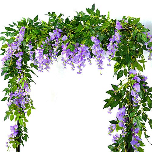 Rzctukltd 2x7FT Artificial Wisteria Vine Garland Plants Foliage Trailing Flower In/Outdoor (Lilac)