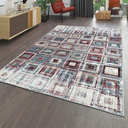 TT Home laagpolig tapijt woonkamer used look modern geometrisch patroon vintage bont