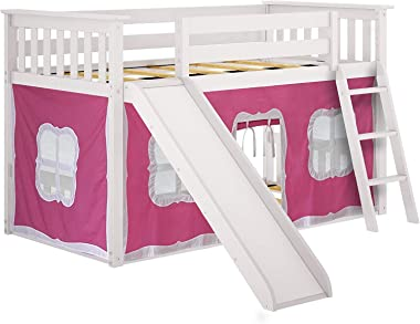Max & Lily Twin Low Bunk Bed with Slide and Pink Curtains, White