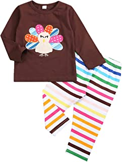 SEVEN YOUNG Thanksgiving Kids Baby Girls Clothes Turkey Print Top + Colorful Stripe Pant Long Sleeve Thansgiving Outfit Set