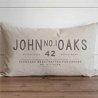 EricauBird Colección Vintage - Funda de cojín con nombre personalizado John No.1 Oaks para decoración del hogar