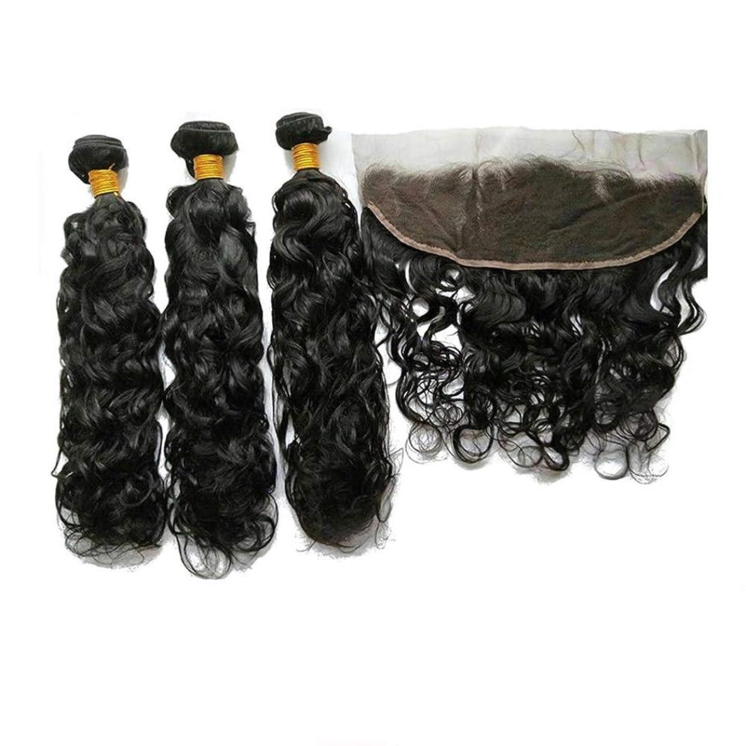 縞模様のインサート乳剤Yrattary 黒髪の長い髪のない髪のない髪の拡張子を染めることができますかつらNarural Wave合成ヘアレースかつらロールプレイングかつら (色 : 黒, サイズ : 18 inch)
