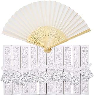 Anyasen Abanico Plegable de Mano Bambú Abanicos Abanico Blanco de Boda Abanicos de Tela Plegable Abanicos de Boda para Invitados de Boda Fiesta (10 pz, con Caja, Cintas de Seda)