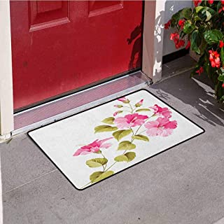 RelaxBear Flower Front Door mat Carpet Tropic Wild Hibiscus Flower Branch with Fresh Leaves Exotic Flora Concept Machine Washable Door mat W19.7 x L31.5 Inch Pink Green White