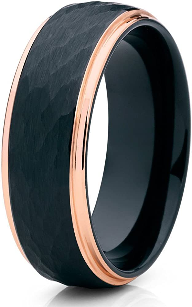 Silly Kings Black Tungsten Wedding Band,8mm Black Tungsten Ring,Rose Gold Tungsten,Hammered Ring