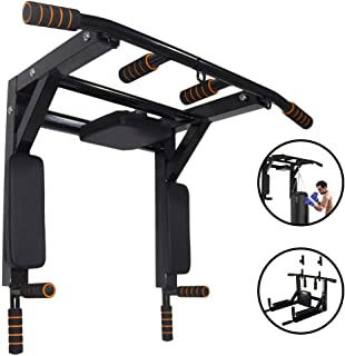 unhg Wall Mounted Pull Up Bar Chin Up bar Multifunctional Dip Station for Indoor Home Gym Workout, Power Tower Set Training Equipment Fitness Dip Stand Supports to 440 Lbs