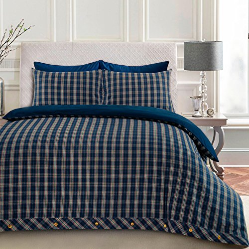 Nimsay Home Highland Woven Tartan Scottish Check Premium Flannel Super Soft Brushed Cotton Thermal Flannelette Quilt Duvet Cover Set with Pillowcases - Double - Blue