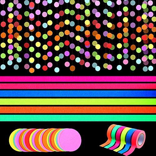 Outus 79 Pies Guirnalda Papel Redonda Decoraciones Colgantes de Punto Circular Banner Colorido Lunares con 6 Rollos de Cinta Reactiva de Luz Negra UV Cinta Fluorescente Neón para Decoración de Fiesta