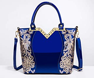 Embroidered bright leather shoulder bag, ladies handbag, patent leather cross-body bag, pu texture, necessary for going out, can accommodate mobile phones, cosmetics, etc.