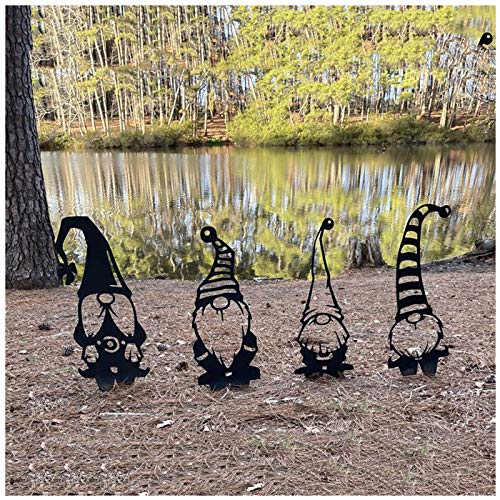 Steel Branch Gnomes Decoration, Steel Branch Gnomes Silhouettes Statues for Garden, Metal Gnomes Garden Silhouette, Indoor Outdoor Silhouette Ornament, Decorative Artwork Backyard Art (4Pcs)