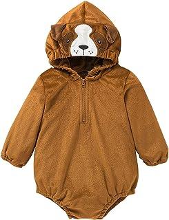 الوليد الطفل بنين بنات طويلة الأكمام الصوف هوديي رومبير ارتداءها الملابس الدافئة (Color : Brown, Size : 12M)