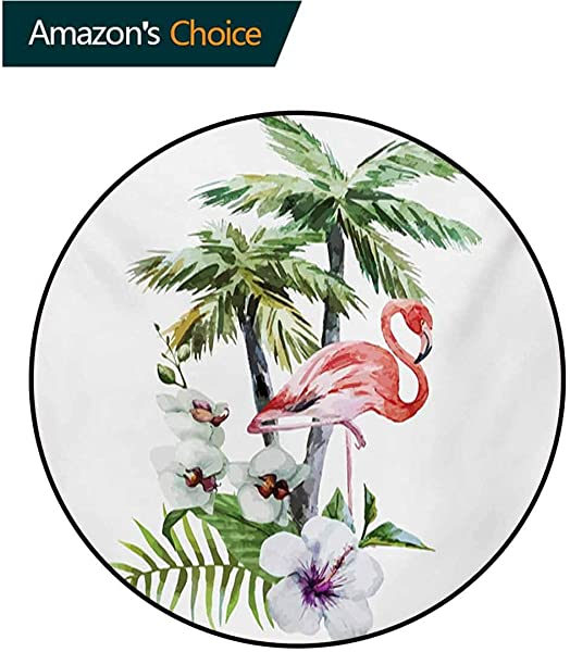 RUGSMAT Flamingo Modern Machine Round Bath Mat Watercolor Island Composition Exotic Forest Leaves And Hibiscus Spring In Hawaii Non Slip No Shedding Kitchen Soft Floor Mat Round 31 Inch