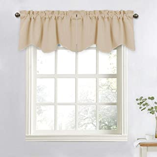 NICETOWN Window Valances for Sliding Door - Blackout 52 inches by 18 inches Rod Pocket Dining Room/Kitchen Tier Valances Window Curtain Topper Decorations (Biscotti Beige, 2 Pieces)