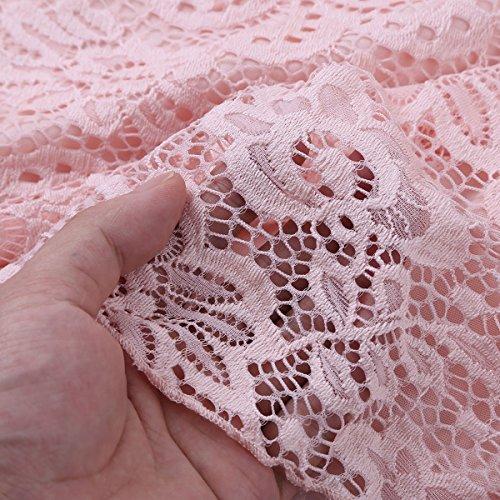 Tiaobug Damen Umstandskleid Spitzenkleid Frauen Schwangerschafts Kleid V-Ausschnitt Mutterschafts Kleid Fotografie Stillkleid mit Geknotetem Dekolleté Rosa Ärmellos - 6