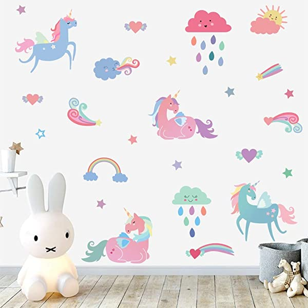 IARTTOP Rainbow Unicorn Wall Decal Colorful Horse Unicorn With Clouds Rainbow Star Sticker Multi Color Sticker For Girls Room Decor