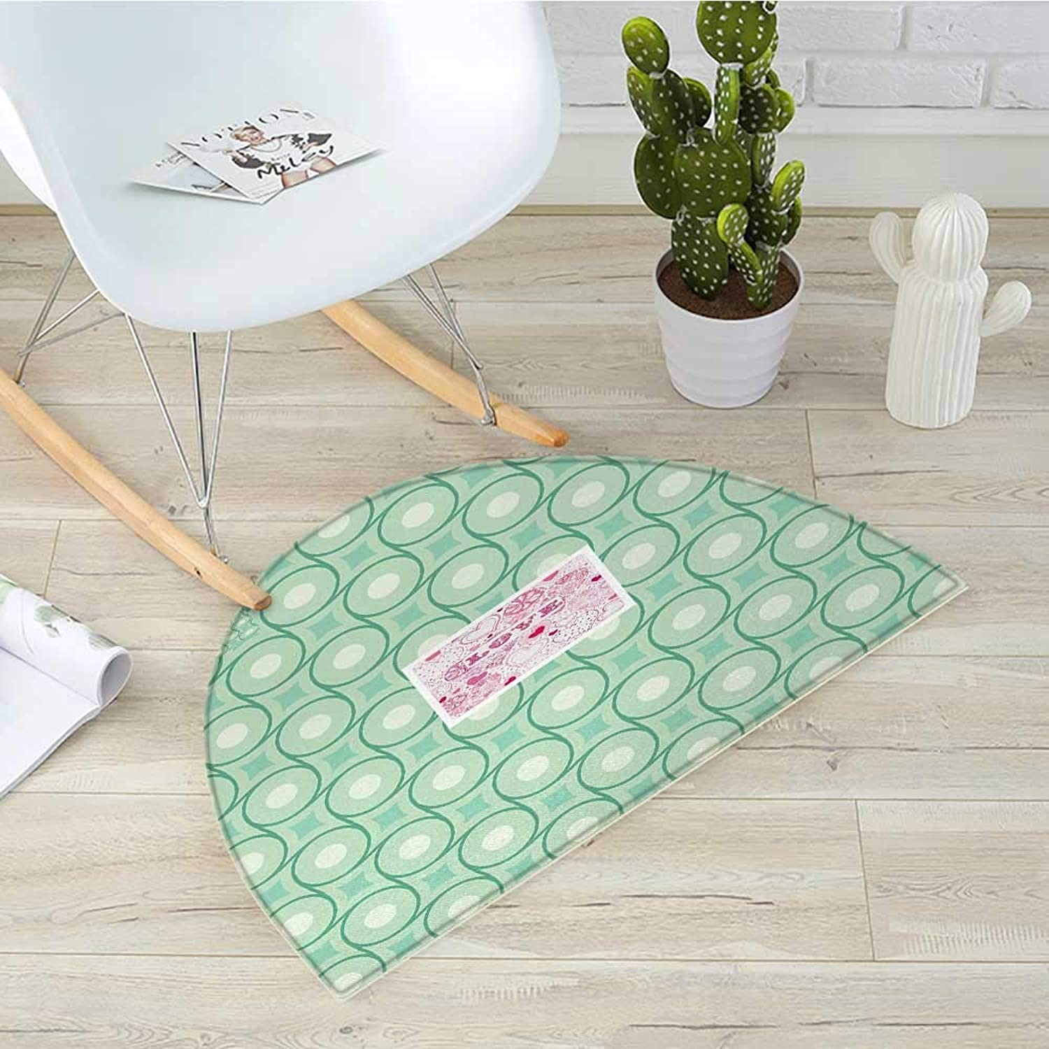 Mint Semicircle Doormat Circles and Dots Linked with Lines Wavy Squares Geometric Retro Style Halfmoon doormats H 31.5  xD 47.2  Mint Emerald Almond Green
