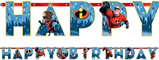 Boys Girls Childrens Disney Pixar Incredibles 2 Film Happy Birthday Personalised Banner Party Celebration Decorations Tableware Accessories (Banner)