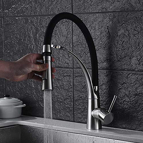 Faus Koco Grifo De Lavabo De Latón Mate Negro Grifo De Doble Ranura para Agua Fría Y Caliente Grifo De Lavabo Blanco De Porcelana