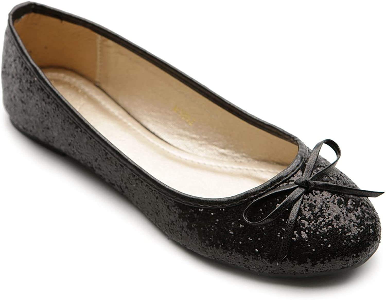 Ollio Women's Ballet shoes Sequins Ribbon Flat