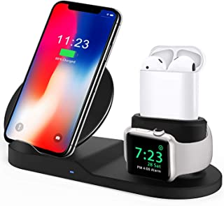 Bestrans Wireless Charger, 3 in 1 Docking Station for Apple Watch 4/3/2/1, Airpods, iPhone XS/XR/X/8/8 Plus, Samsung Galaxy S9/S9 Plus/Note 8/S8/S8 Plus, Black