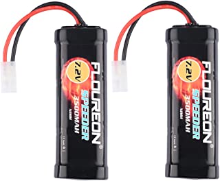 FLOUREON 7.2V 3500mAh RC Battery High Capacity NiMH Battery 6 Cell RC Battery Pack with Tamiya Plug for Popular Standard RC Cars Including Traxxas LOSI mAssociated HPI Tamiya Kyosho (2pack)