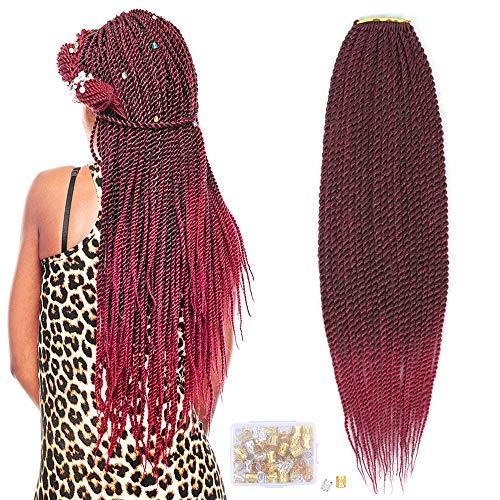 8Pack Senegalese Twist Crochet Haarverlängerungen Synthetische Flechtgeflechte Haar Kleine Havanna Mambo Twist Braids (22 Zoll, T1B/Bug#)