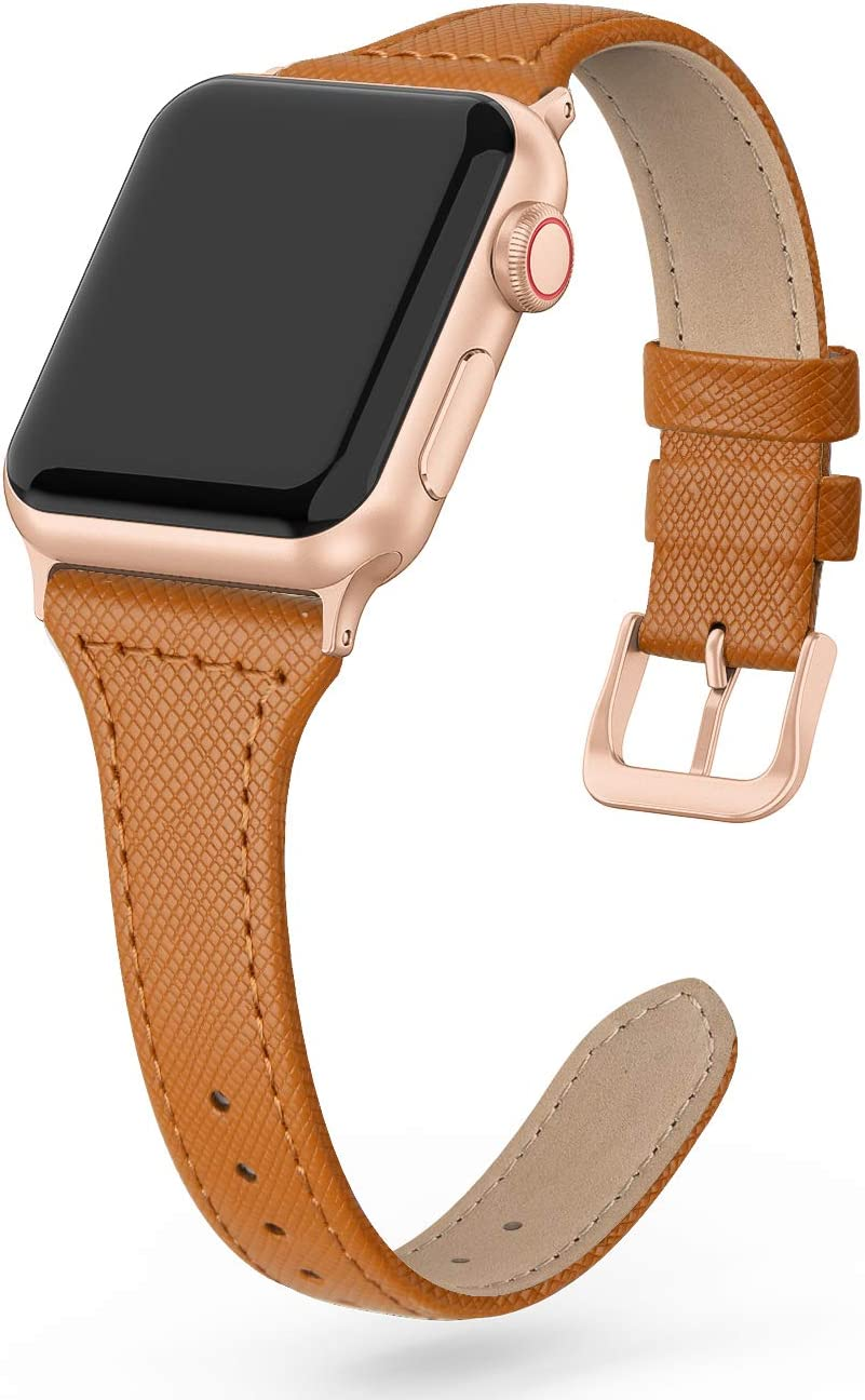 SWEES Leather Band Compatible for iWatch 38mm 40mm, Slim Thin Dressy Elegant Genuine Leather Strap Compatible with iWatch Series 6 5 4 3 2 1 SE Sport Edition Women, Saddle Brown