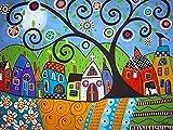 Taladro redondo completo 5D DIY pintura de diamante árbol abstracto bordado de diamantes paisaje Kit de punto de cruz decoración del hogar A12 50x60cm