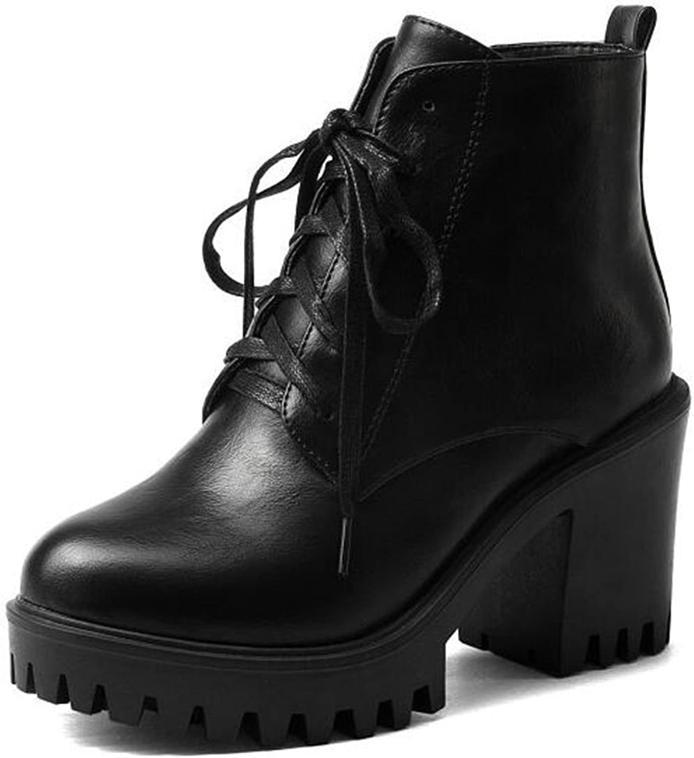IDIFU Women's Vintage Lace Up Side Zipper Ankle Boots High Chunky Heels Platform Martin Booties