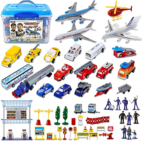 liberty imports kids games Liberty Imports Deluxe 57-Piece Kids Commercial Airport Playset in Storage Bucket with Airplane Toy, Play Vehicles, Fire Trucks, Police Cars & Figures, and Accessories